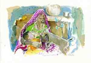 Femme Bishnoï allaitant Anne Steinlein