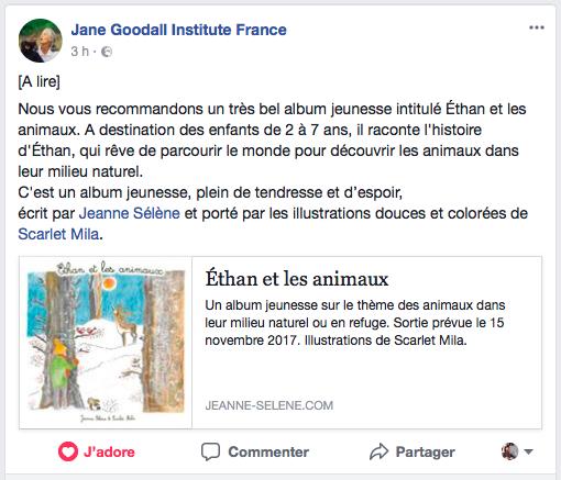 Jane Goodall Institute France recommande Éthan et les animaux
