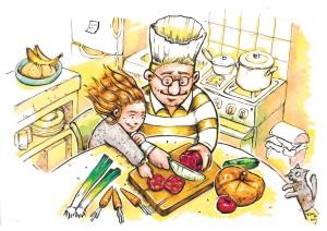 et Papou préfère la cuisine.
